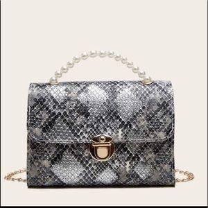 Handbags - Snakeskin Print Satchel Bag w/ Pearl